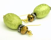 Dangle Lime green and Copper-brown  textured  oval bead Earrings