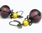 Plum and Yellow  Lampwork Beads Earrings - Artisan Made
