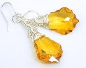 Baroque Yellow Topaz Swarovski Crystal Sterling Silver Earrings