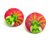 Fabric Button Earrings - Red, cream and green Flowers - Gold plated post