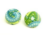 Fabric Button Earrings - Turquoise and lime green paisley - Nickel free post