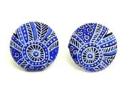 Fabric Button Earrings - Sapphire blue and white floral fabric - Nickel free post