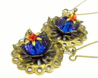 Sapphire Blue and Orange Flower Earrings - Filigree Lily Pads