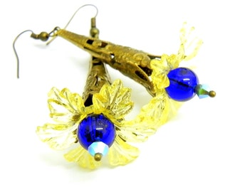 Yellow and Cobalt blue Flower Earrings - Brass Filigree cone