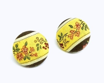 Fabric Button Earrings - Yellow and brown floral - Gold plated post