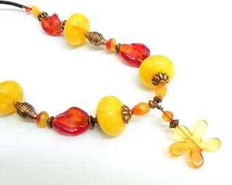 Necklace - Yellow jade, copper and red lampwork beads