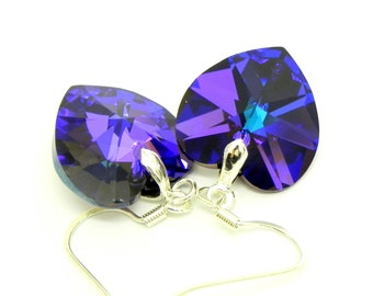 Dangle Bermuda Blue Heliotrope Swarovski Crystal Heart Earrings - Plated Silver earwires
