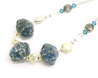 Necklace - Organic Blue Ceramic beads