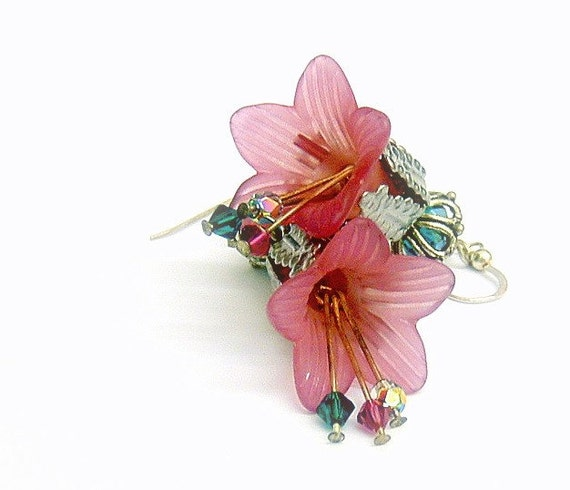 Lucite Flower Earrings -  Sterling Silver earwires