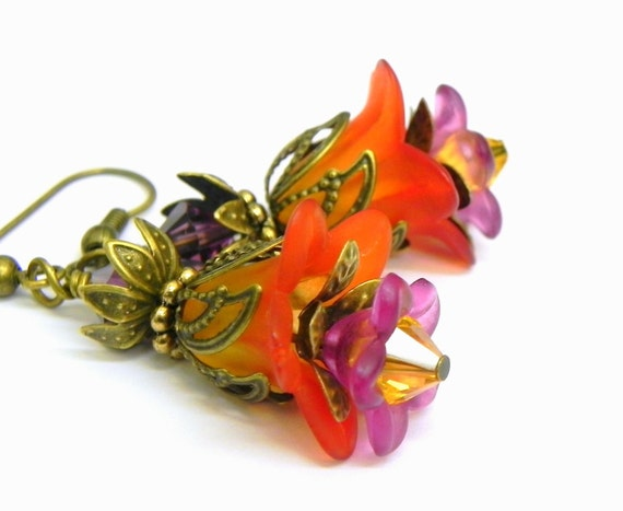 Orange, Yellow and Purple Flower Earrings - Tulip lucite beads