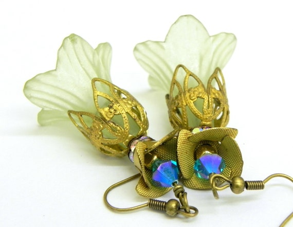 Pale Green Trumpet Flower Earrings - Brass Filigree Cap