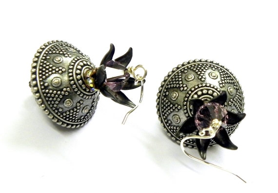 Lucite bead Earrings - Antique Silver and Black  Sterling Silver earwires