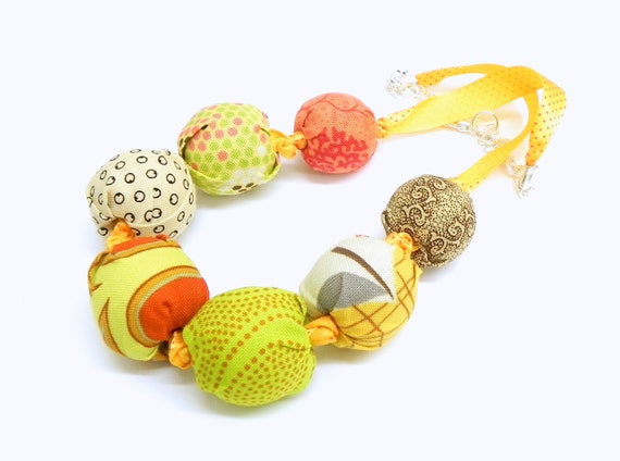Fabric Necklace - Handmade beads - Green, coral, brown, orange,cream, rust and yellow