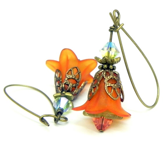 Dangle Lucite Flower Earrings - Rust and olive green Tulip beads