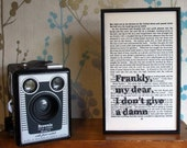 Gone With The Wind typographic art Frankly My Dear text on vintage book page - BookishlyUK