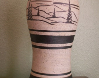 Stoneware Pottery Vase with mountains and pine trees