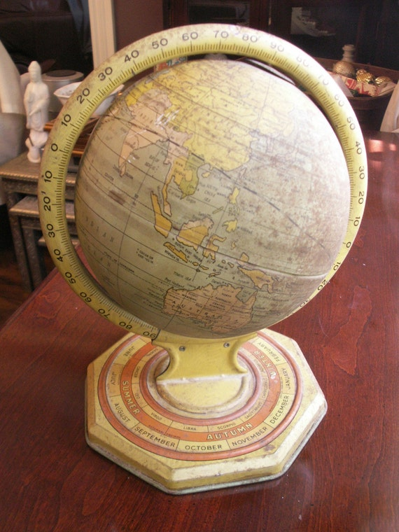 Tin Globe with season and astrology sign from 1930