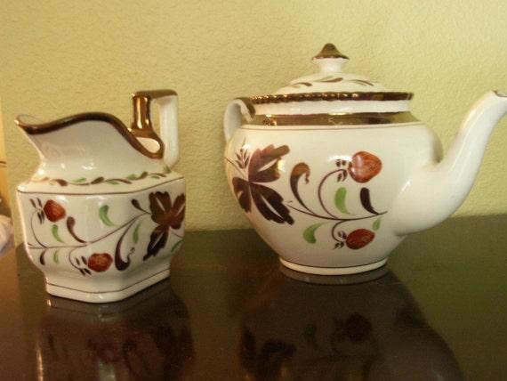 Strawberry Lustre ware Tea Pot and Creamer