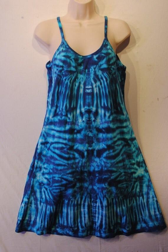 Short Spaghetti Strap Tie Dye Dress Size XLarge Sky Blue