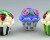 Cute colorful handmade cupcakes - Lampwork beads