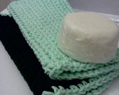 Facial Cloths.....set of 2 in Mint and Dark Green