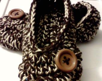 Women's Crochet Brown Slippers | Brown and Cream Crochet Slippers | Hand Crochet Slippers | House Shoes | Crochet Booties | Slippers