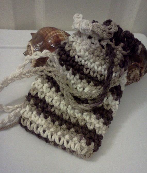 Soap Saver - Jewelry Pouch - Treasure Keeper in Brown and White