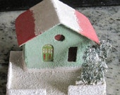 Putz Style 1940's/1950's Mica, Painted Cardboard Christmas House. Made in Japan