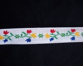 Vintage Jacquard Ribbon with Red, Yellow and Blue Tulips 1 Yard