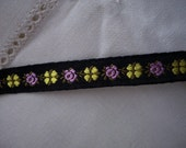 Vintage Jacquard Ribbon Black, Purple and Yellow Flowers 1 yard