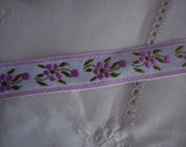 Vintage Jacquard Ribbon with Lilac Flowers 1 Yard