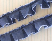 Frayed Edge Pleated Denim Trim 1 Yard