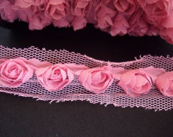 Pink Organza Rose Trim 1 yard