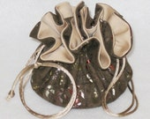 Brown With Gold Foil Jewelry Tote--Soft Suedecloth Organizer Pouch--Medium Size