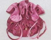 Pink With Gold Foil Jewelry Tote--Soft Suedecloth Organizer Pouch--Medium Size