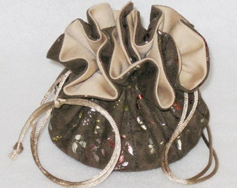 Jewelry Tote---Drawstring Organizer Pouch---Brown With Gold Foil Soft Suedecloth --Medium Size