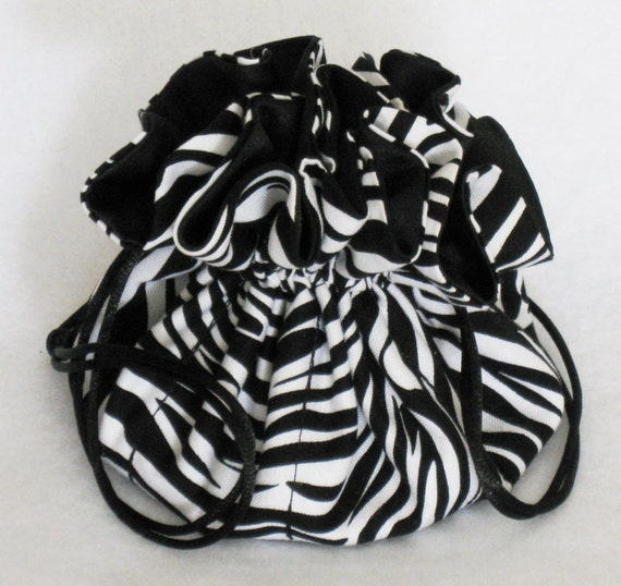Jewelry Travel Tote--Drawstring Organizer Pouch---Eight Pockets---Zebra Print---Medium Size