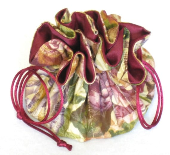 JewelryTravel Tote---Drawstring Organizer Pouch---Burgundy Rose Floral--Medium Size