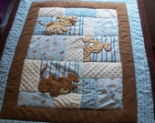 Handcrafted Baby Quilt - Puppies at Play