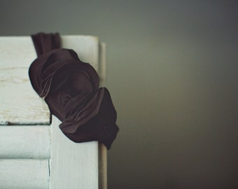 Headband- Jersey Knit Brown with Brown Flowers