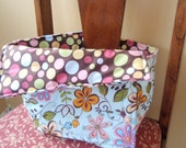 Brown and blue floral reversable portable high chair  READY TO SHIP on sale, was 24