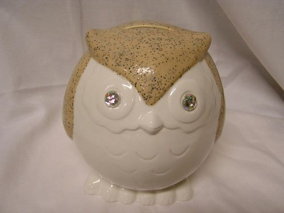 Speckled Jeweled Eye Baby Owl Bank