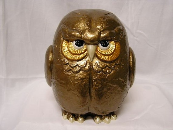 SALE  Retro Shimmering Garden Owl