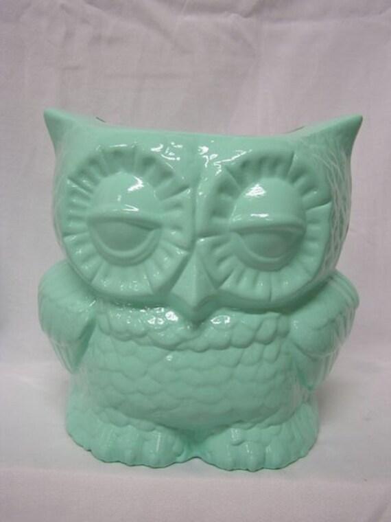 Tootsie Pop Owl Desk Vase Mint Green