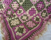 Soft Lap or Crib Blanket in Rose, Sage Green and Tan