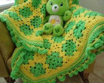 Yellow and Lime Green Crib - Car-Seat - Stroller Soft Baby Blanket