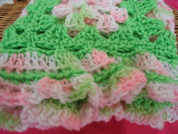 Baby Afghan in Pink and Green for Little Girls and Babies