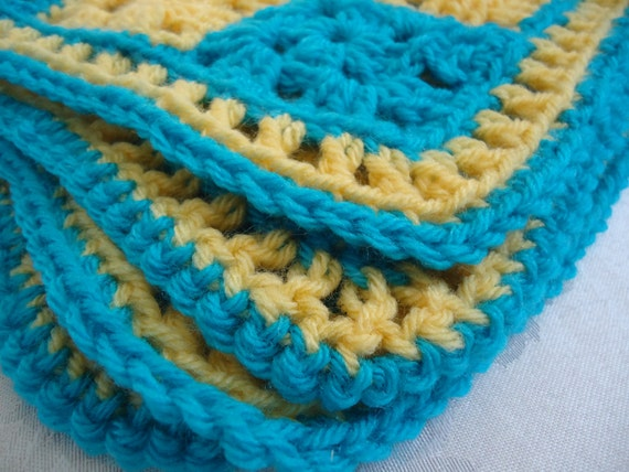 Turqoise Blue and Bright Yellow Baby Afghan for Boys or Girls