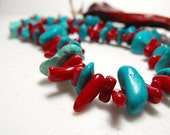 Turquoise  Coral Necklace Beaded Western Design 22 inch