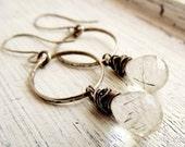 Sterling Silver Hoop Earrings Tourmilated Quartz Dangles